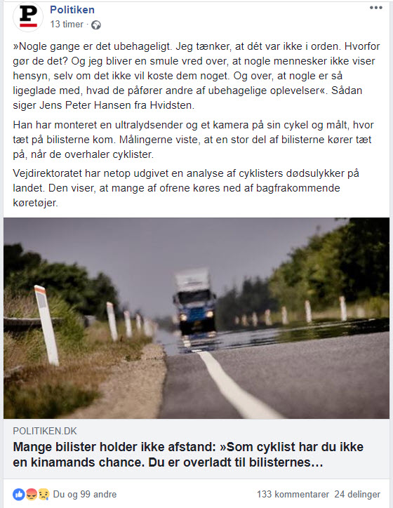 Skærmprint af Politikens Facebook omtale af Hold Afstand til Cyklisten